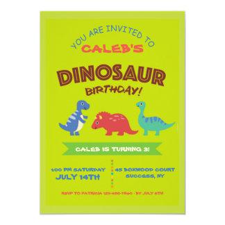 Convite de aniversário bonito do dinossauro