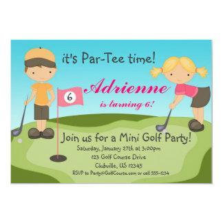 Convite de aniversário bonito do golfe da menina