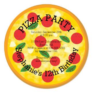 Convite de aniversário bonito do partido da pizza