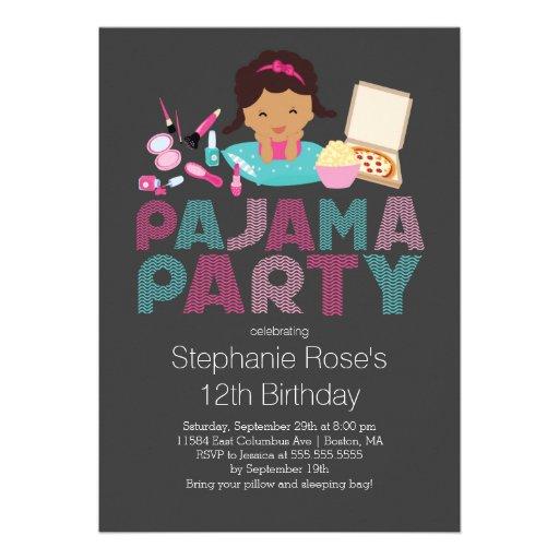 Convite de aniversário bonito do pijama do adolesc
