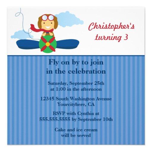 Convite de aniversário bonito dos meninos do pilot