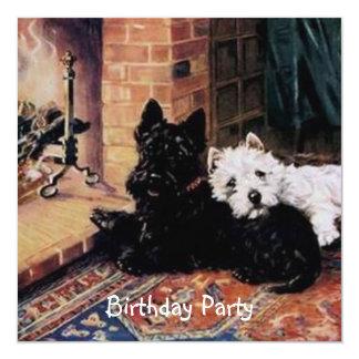 Convite de aniversário branco dos cães pretos