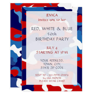 Convite de aniversário Camo azul branco vermelho