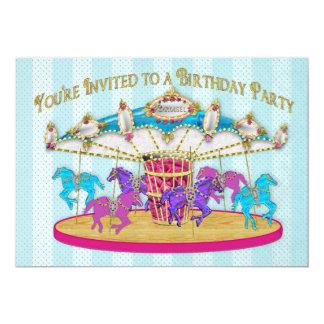 Convite de aniversário - carrossel - crianças