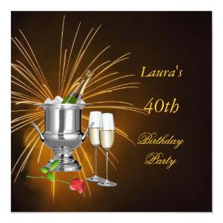 Convite de aniversário Champagne Convite Quadrado 13.35 X 13.35cm