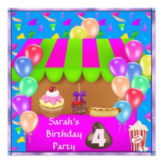Convite de aniversário colorido das crianças o 4o