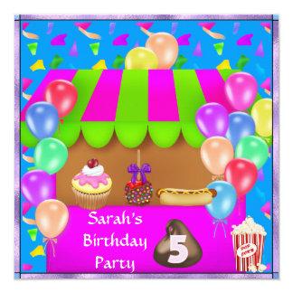 Convite de aniversário colorido das MENINAS 5o