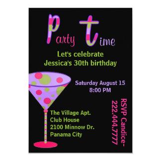Convite de aniversário colorido do adulto do convite 12.7 x 17.78cm