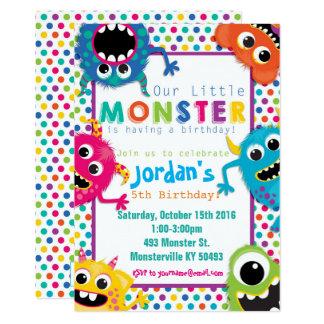 Convite de aniversário colorido dos monstro