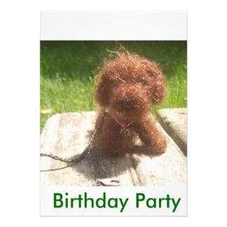 Convite de aniversário com filhote de cachorro