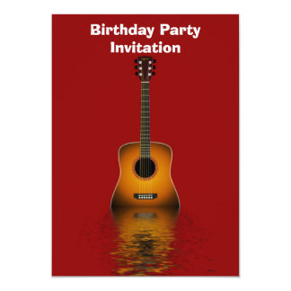 Convite de aniversário com guitarra acústica