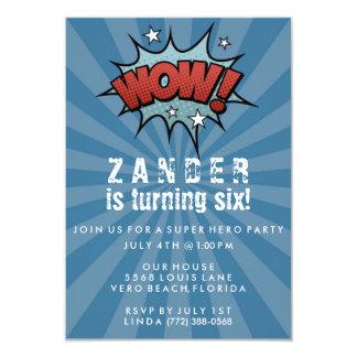 Convite de aniversário cómico do super-herói dos