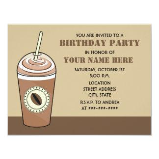 Convite de aniversário congelado do café