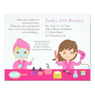 Convite de aniversário cor-de-rosa bonito dos