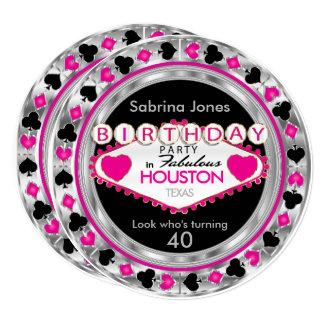 Convite de aniversário cor-de-rosa - cidade &