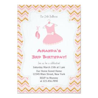 Convite de aniversário cor-de-rosa da bailarina