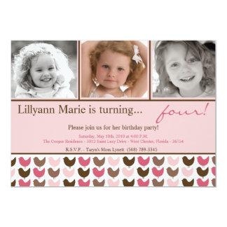 convite de aniversário cor-de-rosa da foto do convite 12.7 x 17.78cm