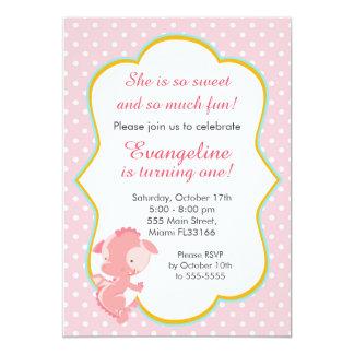 Convite de aniversário cor-de-rosa da menina do