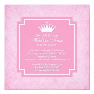 Convite de aniversário cor-de-rosa da princesa