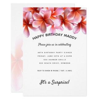 Convite de aniversário cor-de-rosa da surpresa do