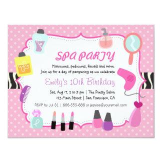 Convite de aniversário cor-de-rosa dos termas das