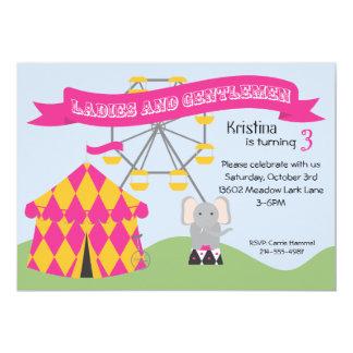 Convite de aniversário cor-de-rosa e amarelo do