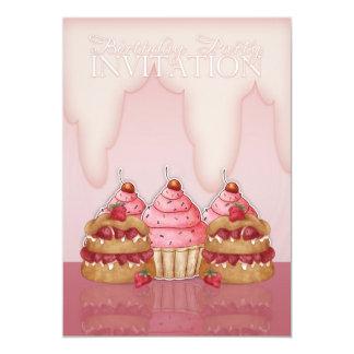 Convite de aniversário - cupcakes e glacé,