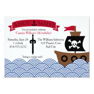 Convite de aniversário customizável do pirata