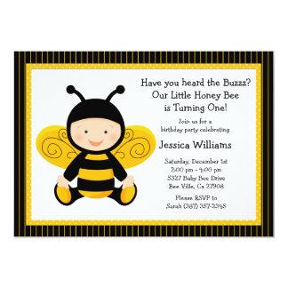 Convite de aniversário da abelha do bebê