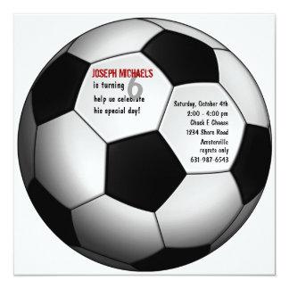 Convite de aniversário da bola de futebol convite quadrado 13.35 x 13.35cm