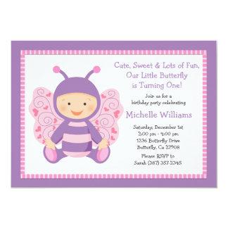 Convite de aniversário da borboleta do bebê