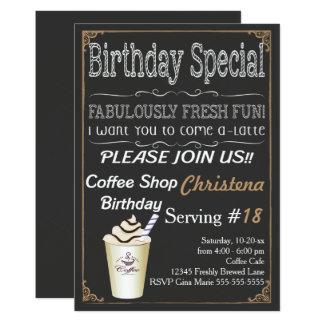 Convite de aniversário da cafetaria do café