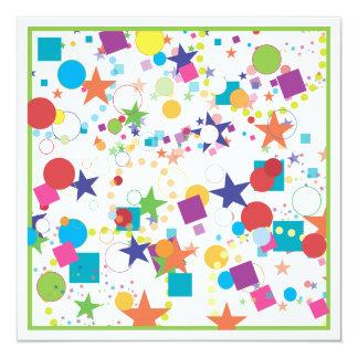 Convite de aniversário da celebração dos confetes convite quadrado 13.35 x 13.35cm