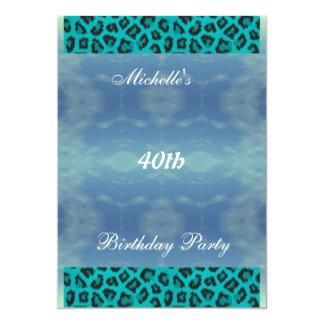 Convite de aniversário da cerceta e do leopardo da convite 12.7 x 17.78cm