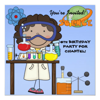 Convite de aniversário da ciência da menina