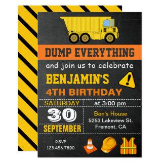 Convite de aniversário da construção do camião