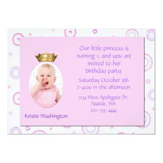 Convite de aniversário da coroa da menina doce