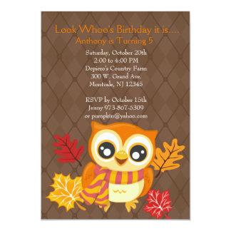 Convite de aniversário da coruja da queda