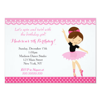 Convite de aniversário da dança da bailarina