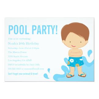 Convite de aniversário da festa na piscina  