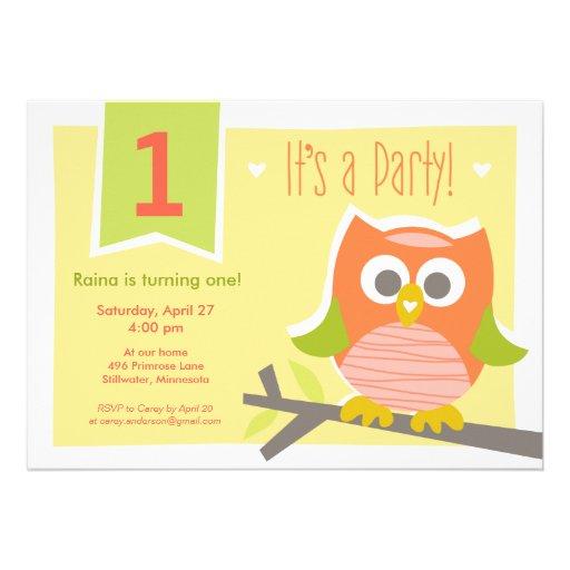 Convite de aniversário da foto da coruja