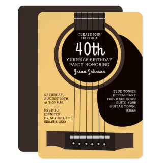 Convite de aniversário da guitarra acústica