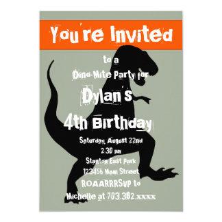Convite de aniversário da laranja do dinossauro de