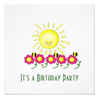 Convite de aniversário da luz do sol