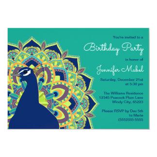 Convite de aniversário da mandala do pavão