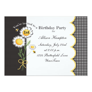 Convite de aniversário da margarida convite 12.7 x 17.78cm