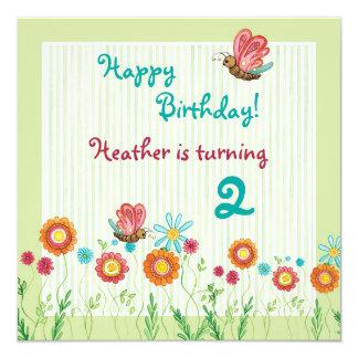 Convite de aniversário da menina de flores da