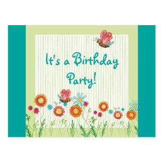 Convite de aniversário da menina de flores da rare cartao postal