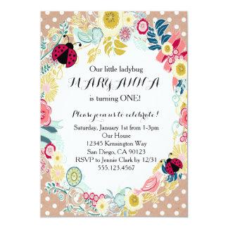 Convite de aniversário da menina do joaninha