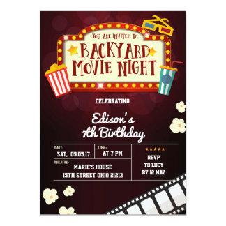 Convite de aniversário da noite de cinema do